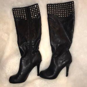 BCBG Black Studded Leather Boots